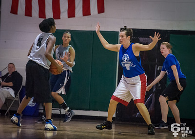Tiffany Jackson, Alyse Pecoraro  NYWAL Invitation Tournament: Third Place Game: Havoc (Grey) 50 v. NYC Gay Basketball League (Blue) 49, Alfred E. Smith Recreation Center, New York, NY. August 25, 2012.
