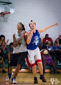 Alyse Pecoraro, Tiffany Jackson NYWAL Invitation Tournament: Third Place Game: Havoc (Grey) 50 v. NYC Gay Basketball League (Blue) 49, Alfred E. Smith Recreation Center, New York, NY. August 25, 2012.