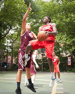 """Big East Ballers (Red)  89 v. Westchester (Burgundy) 53 (West 4th St 2010 Women's Pro-Classic NYC: Big East Ballers (Red)  89 v. Westchester (Burgundy) 53, """"The Cage,"""" New York, NY. June 12, 2010)"""