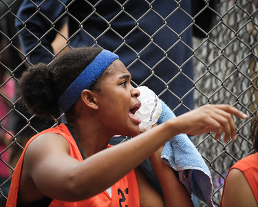 """(West 4th St. Women's Pro-Classic NYC: Parker's Ladies (Blue) 58 v Crossover (Orange) 36, The """"Cage"""", New York, NY. June 12, 2011)"""