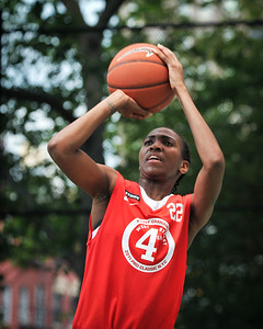 """(West 4th St. Women's Pro-Classic NYC: Big East Ballers (Red) 61 v No Limit (Grey) 51, The """"Cage"""", New York, NY. July 2, 2011)"""