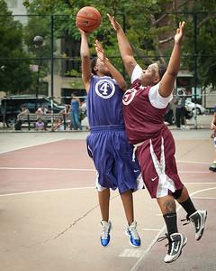 (West 4th St. Women's  Pro-Classic NYC: Hustle Hard (Burgundy) 55 v Streetballers (Purple) 45, William F. Passannante Ballfield, New York, NY. July 16, 2011)