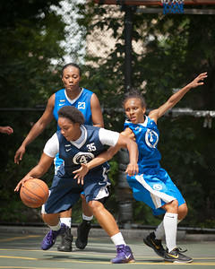 """(West 4th St. Women's  Pro-Classic NYC: Next Level (Navy) 58 v Parker's Ladies (Blue) 40, The """"Cage"""", New York, NY. August 13, 2011)"""