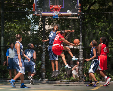 """Primetime (Navy) 79 v Deuce Trey (Red) 73 (West 4th St. Women's  Pro-Classic NYC: Semifinal: Primetime (Navy) 79 v Deuce Trey (Red) 73, The """"Cage"""", New York, NY. August 20, 2011)"""