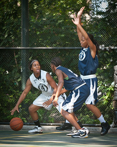 """(West 4th St. Women's  Pro-Classic NYC: Lady Mustangs (Grey) 88 v Next Level (Navy) 82 The """"Cage"""", New York, NY. August 20, 2011)"""