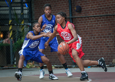 Eyana Thompson, Raven Bryant, J. Odom West 4th Street Women's Pro Classic NYC: Fastbreak (Red) 61 v Da Bizznezz (Purple) 34, William F. Passannante Ballfield, New York, NY, June 2, 2012