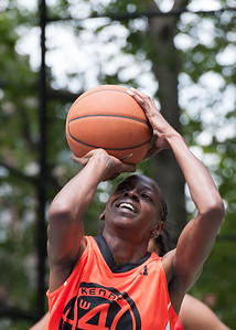 "Lateefah Joye West 4th Street Women's Pro Classic NYC: Deuce Trey (Orange) 52 v Fastbreak (Red) 44, ""The Cage"", New York, NY, June 3, 2012"