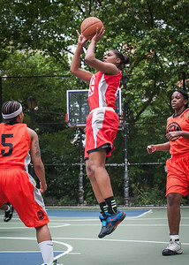 """Taylor Ford West 4th Street Women's Pro Classic NYC: Deuce Trey (Orange) 52 v Fastbreak (Red) 44, """"The Cage"""", New York, NY, June 3, 2012"""