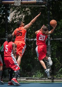 """Taneisha McCroskey, Nicky Young West 4th Street Women's Pro Classic NYC: Deuce Trey (Orange) 52 v Fastbreak (Red) 44, """"The Cage"""", New York, NY, June 3, 2012"""