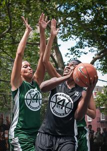 "Maria Clifton, Delmara Reece West 4th Street Women's Pro Classic NYC: Exodus NYC Apache (Green) 50 v Cobra Hustlers (Black) 39, ""The Cage"", New York, NY, June 9, 2012"