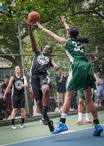 "Delmara Reece, Nicole Michael West 4th Street Women's Pro Classic NYC: Exodus NYC Apache (Green) 50 v Cobra Hustlers (Black) 39, ""The Cage"", New York, NY, June 9, 2012"