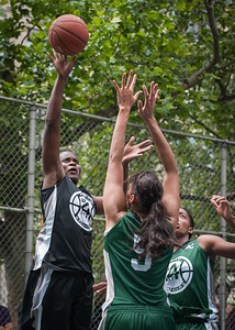 "Delmara Reece, Maria Clifton West 4th Street Women's Pro Classic NYC: Exodus NYC Apache (Green) 50 v Cobra Hustlers (Black) 39, ""The Cage"", New York, NY, June 9, 2012"