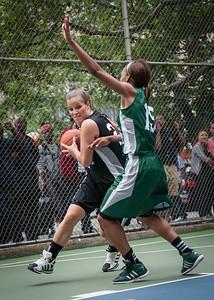 "Michelle Kurowski, Cori Coleman West 4th Street Women's Pro Classic NYC: Exodus NYC Apache (Green) 50 v Cobra Hustlers (Black) 39, ""The Cage"", New York, NY, June 9, 2012"