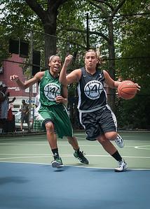 "Cori Coleman, Chris Marrone West 4th Street Women's Pro Classic NYC: Exodus NYC Apache (Green) 50 v Cobra Hustlers (Black) 39, ""The Cage"", New York, NY, June 9, 2012"