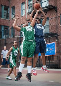 "Rachelle Brown, Janejellica ""JJ"" Johnson West 4th Street Women's Pro Classic NYC: Quiet Storm (Green) 50 v Impulse (Navy) 36, William F. Passannante Ballfield, New York, NY, June 9, 2012"