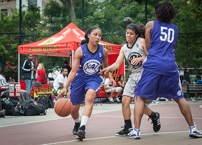 Ariel Smith, Kristin Sells, Micki Younger West 4th Street Women's Pro Classic NYC: Run N Shoot (Purple) 80 v The Hawks (Grey) 33, William F. Passannante Ballfield, New York, NY, June 9, 2012