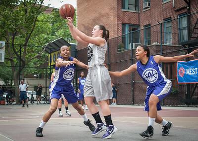 Jewel Adams, Nicole Lenard, Ariel Smith West 4th Street Women's Pro Classic NYC: Run N Shoot (Purple) 80 v The Hawks (Grey) 33, William F. Passannante Ballfield, New York, NY, June 9, 2012