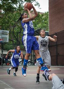 Dawn Coleman, Kristin Sells West 4th Street Women's Pro Classic NYC: Run N Shoot (Purple) 80 v The Hawks (Grey) 33, William F. Passannante Ballfield, New York, NY, June 9, 2012