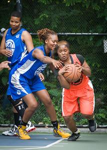 "Leeah Thomas, Shenita Urquhart West 4th Street Women's Pro Classic NYC: Primetime (Blue) 57 v Lady Ballers (Orange) 51, ""The Cage"", New York, NY, June 17, 2012"
