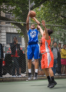 """Crystal McFadden, Bria Jackson West 4th Street Women's Pro Classic NYC: Primetime (Blue) 57 v Lady Ballers (Orange) 51, """"The Cage"""", New York, NY, June 17, 2012"""