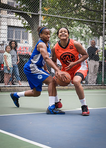 """Bianca Brown, Shanee Williams West 4th Street Women's Pro Classic NYC: Primetime (Blue) 57 v Lady Ballers (Orange) 51, """"The Cage"""", New York, NY, June 17, 2012"""