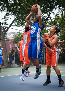 """Renee Taylor, Bria Jackson West 4th Street Women's Pro Classic NYC: Primetime (Blue) 57 v Lady Ballers (Orange) 51, """"The Cage"""", New York, NY, June 17, 2012"""