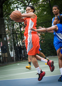 """Shanee Williams West 4th Street Women's Pro Classic NYC: Primetime (Blue) 57 v Lady Ballers (Orange) 51, """"The Cage"""", New York, NY, June 17, 2012"""