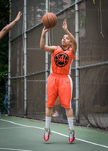 """Kassendra Flowers West 4th Street Women's Pro Classic NYC: Primetime (Blue) 57 v Lady Ballers (Orange) 51, """"The Cage"""", New York, NY, June 17, 2012"""