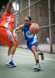 """Renee Taylor, Samantha Gillman West 4th Street Women's Pro Classic NYC: Primetime (Blue) 57 v Lady Ballers (Orange) 51, """"The Cage"""", New York, NY, June 17, 2012"""