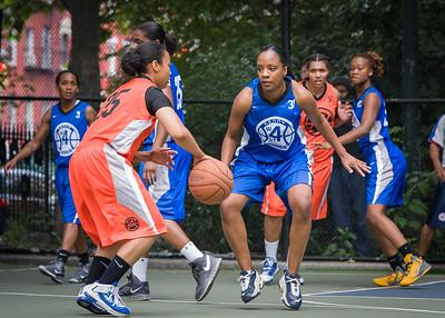 "Katrina Peru, Paula Robinson West 4th Street Women's Pro Classic NYC: Primetime (Blue) 57 v Lady Ballers (Orange) 51, ""The Cage"", New York, NY, June 17, 2012"