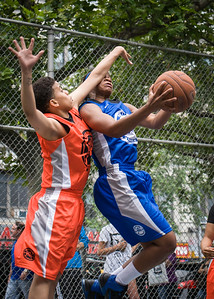 """Kassendra Flowers, Bianca Brown West 4th Street Women's Pro Classic NYC: Primetime (Blue) 57 v Lady Ballers (Orange) 51, """"The Cage"""", New York, NY, June 17, 2012"""
