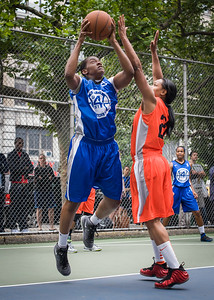 """Shanee Williams, Crystal McFadden West 4th Street Women's Pro Classic NYC: Primetime (Blue) 57 v Lady Ballers (Orange) 51, """"The Cage"""", New York, NY, June 17, 2012"""