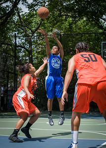"""Renee Taylor, Andya Morgan, Samantha Gillman West 4th Street Women's Pro Classic NYC: Primetime (Blue) 57 v Lady Ballers (Orange) 51, """"The Cage"""", New York, NY, June 17, 2012"""