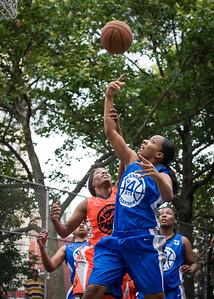 "Andya Morgan, Katrina Peru West 4th Street Women's Pro Classic NYC: Primetime (Blue) 57 v Lady Ballers (Orange) 51, ""The Cage"", New York, NY, June 17, 2012"