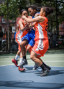 """Renee Taylor, Shanee Williams, Bria Jackson West 4th Street Women's Pro Classic NYC: Primetime (Blue) 57 v Lady Ballers (Orange) 51, """"The Cage"""", New York, NY, June 17, 2012"""