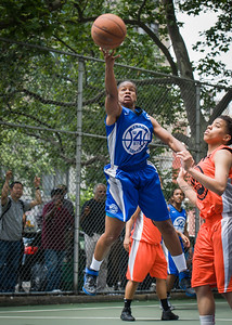 """Bianca Brown West 4th Street Women's Pro Classic NYC: Primetime (Blue) 57 v Lady Ballers (Orange) 51, """"The Cage"""", New York, NY, June 17, 2012"""
