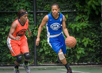 "Andya Morgan, Shemika Stevens West 4th Street Women's Pro Classic NYC: Primetime (Blue) 57 v Lady Ballers (Orange) 51, ""The Cage"", New York, NY, June 17, 2012"