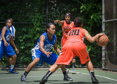 """Bria Jackson, Renee Taylor, Andya Morgan West 4th Street Women's Pro Classic NYC: Primetime (Blue) 57 v Lady Ballers (Orange) 51, """"The Cage"""", New York, NY, June 17, 2012"""