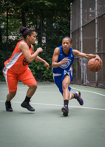 "Bria Jackson, Shemika Stevens West 4th Street Women's Pro Classic NYC: Primetime (Blue) 57 v Lady Ballers (Orange) 51, ""The Cage"", New York, NY, June 17, 2012"