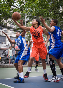 """Bianca Brown, Shanee Williams, Dana Wynne West 4th Street Women's Pro Classic NYC: Primetime (Blue) 57 v Lady Ballers (Orange) 51, """"The Cage"""", New York, NY, June 17, 2012"""