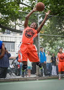 """Andya Morgan West 4th Street Women's Pro Classic NYC: Primetime (Blue) 57 v Lady Ballers (Orange) 51, """"The Cage"""", New York, NY, June 17, 2012"""