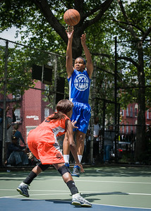 """Bianca Brown, Andya Morgan West 4th Street Women's Pro Classic NYC: Primetime (Blue) 57 v Lady Ballers (Orange) 51, """"The Cage"""", New York, NY, June 17, 2012"""