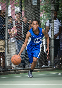 """Renee Taylor West 4th Street Women's Pro Classic NYC: Primetime (Blue) 57 v Lady Ballers (Orange) 51, """"The Cage"""", New York, NY, June 17, 2012"""