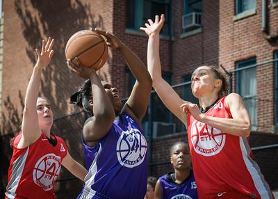 Liz Peach, Deonna Artis, Laurence Mathieu-Leger West 4th Street Women's Pro Classic NYC: Da Bizznezz (Purple) 47 v Ball 4 Life (Red) 49, William F. Passannante Ballfield, New York, NY, June 17, 2012