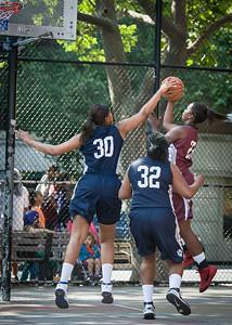 Cherkira Lashley, Jennifer Blanding, Rashawnah French West 4th Street Women's Pro Classic NYC: No Limit (Navy) 64 v Saints (Burgundy) 35, William F. Passannante Ballfield, New York, NY, June 17, 2012