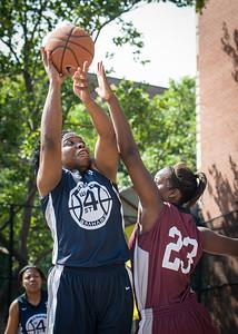 Rashawnah French, Cherkira Lashley West 4th Street Women's Pro Classic NYC: No Limit (Navy) 64 v Saints (Burgundy) 35, William F. Passannante Ballfield, New York, NY, June 17, 2012
