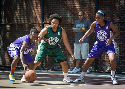 Deonna Artis, Anjale Barrett, Alicea Ulmer West 4th Street Women's Pro Classic NYC: Exodus NYC Apache (Green) 61 v Da Bizznezz (Purple) 42, William F. Passannante Ballfield, New York, NY, June 23, 2012