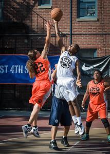 Nicky Young, Aquillin Hayes, Lawanda Greene West 4th Street Women's Pro Classic NYC: Lady Falcons (White) 51 v Deuce Trey (Orange) 33, William F. Passannante Ballfield, New York, NY, June 23, 2012