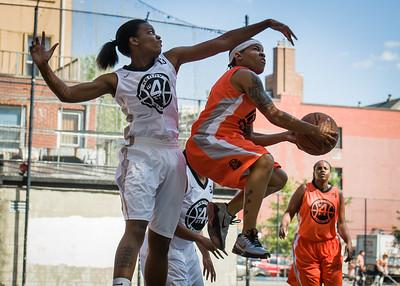 Shorty Reed, Rianna Ward West 4th Street Women's Pro Classic NYC: Lady Falcons (White) 51 v Deuce Trey (Orange) 33, William F. Passannante Ballfield, New York, NY, June 23, 2012