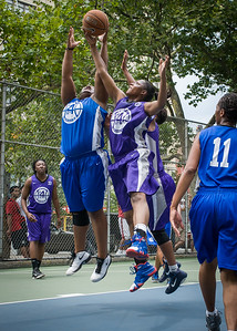 """Jazmine Wright, Dawn Coleman West 4th Street Women's Pro Classic NYC: Primetime (Blue) 88 v Run N Shoot (Purple) 68, """"The Cage"""", New York, NY, July 7, 2012"""